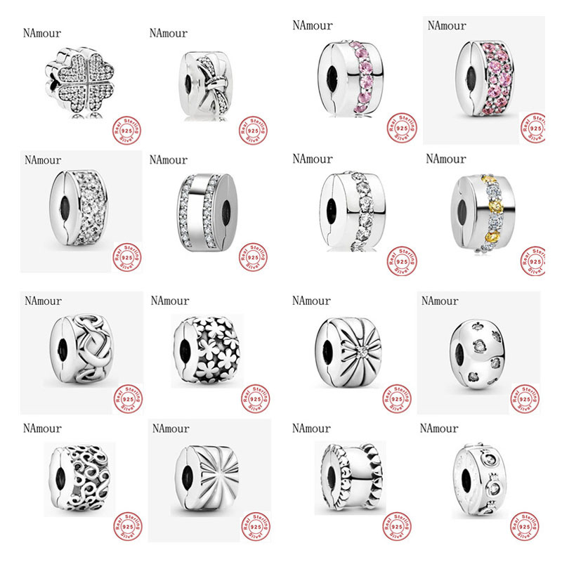 New clover bow path leaf star clip DIY Beads Fit Original Pandora charms silver 925 Bracelet Bead Jewelry making(China)