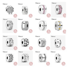 Charms Silver 925-Bracelet-Bead Jewelry-Making Leaf-Star-Clip Diy Beads Clover Original Pandora