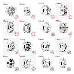 Novo trevo arco caminho folha estrela clipe diy contas caber pandora encantos originais prata 925 pulseira grânulo jóias fazendo