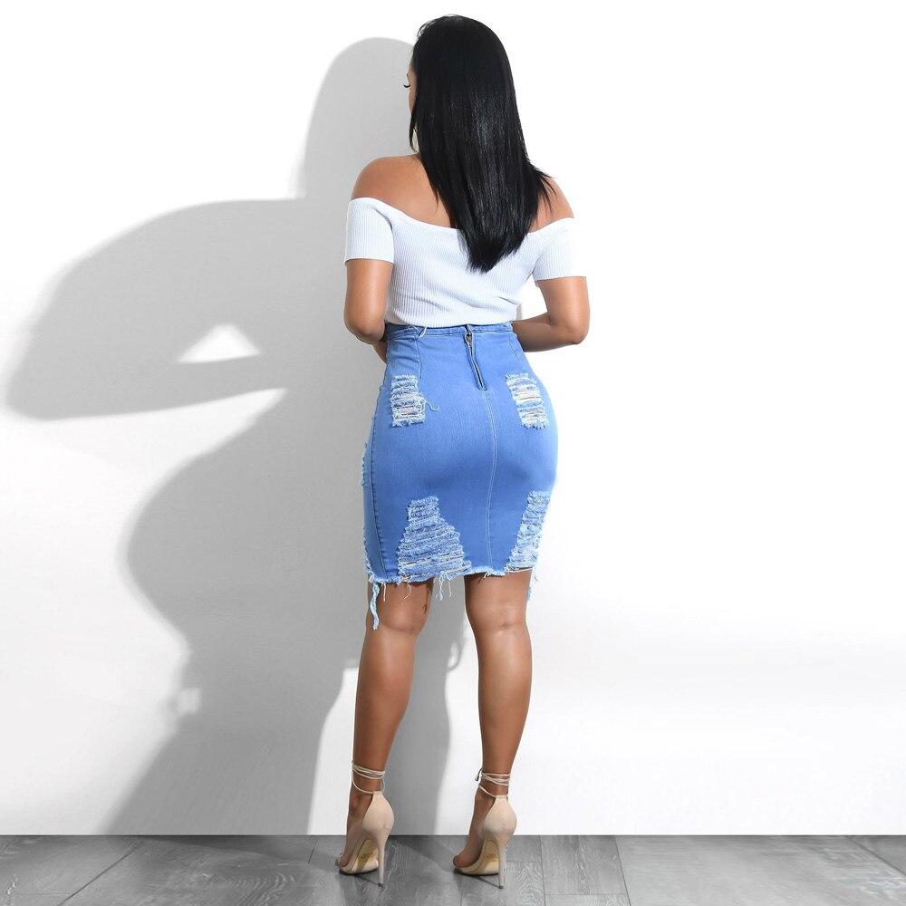 2019 summer Women's A-line Hole Skirt High Waist Ripped Denim Distressed Bodycon Female Pencil Mini Jean Skirt Casual 25