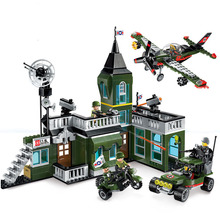 Childrens Educational Building Blocks Toy Military Series Compatible Legoingly City Fighter Bombing Command Headquarters