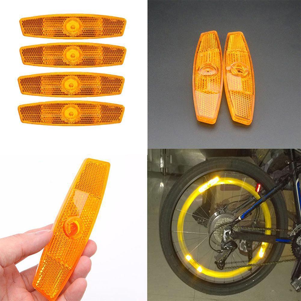 4Pcs Yellow Mountain Bike Spokes Reflective Strips Bicycle Bicycle Wheel Warning Reflectors Lights Spoke Lights Reflector L J1I1
