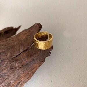 Image 1 - Silvology 925 スターリングシルバー不規則なワイドリングゴールド高品質箔紙ファッショナブルな女性シルバージュエリーギフト