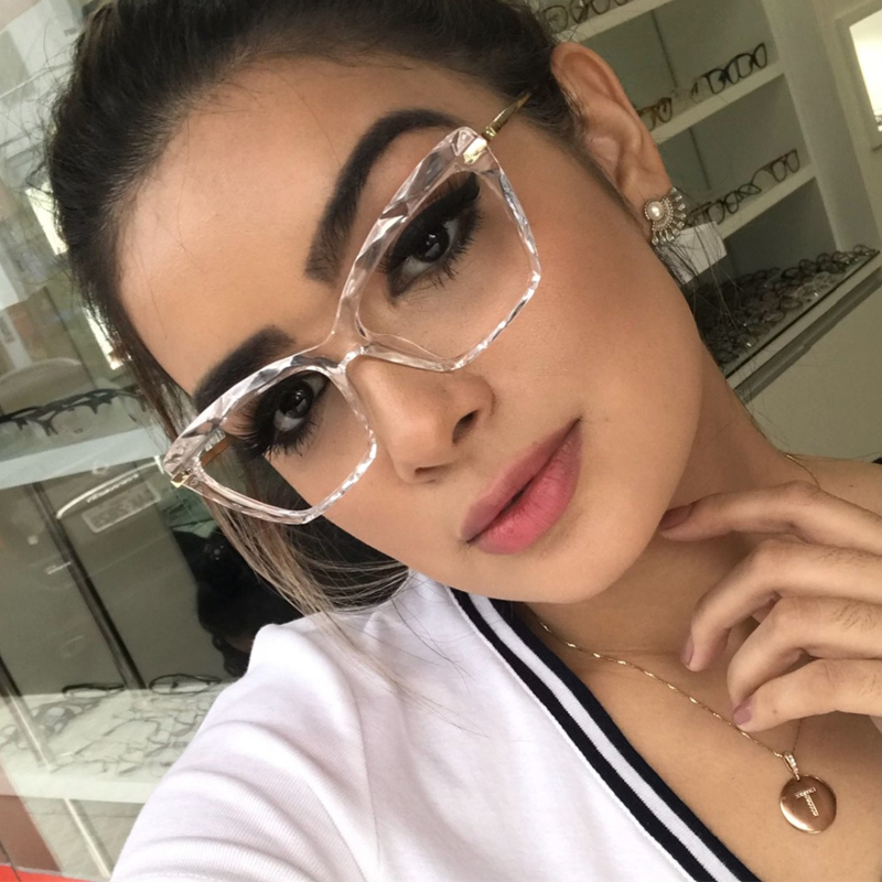 Square Glasses Frame Women Crystal Multi-section Trending Styles Brand Design Optical Computer Glasses Oculos De Sol Eyewear