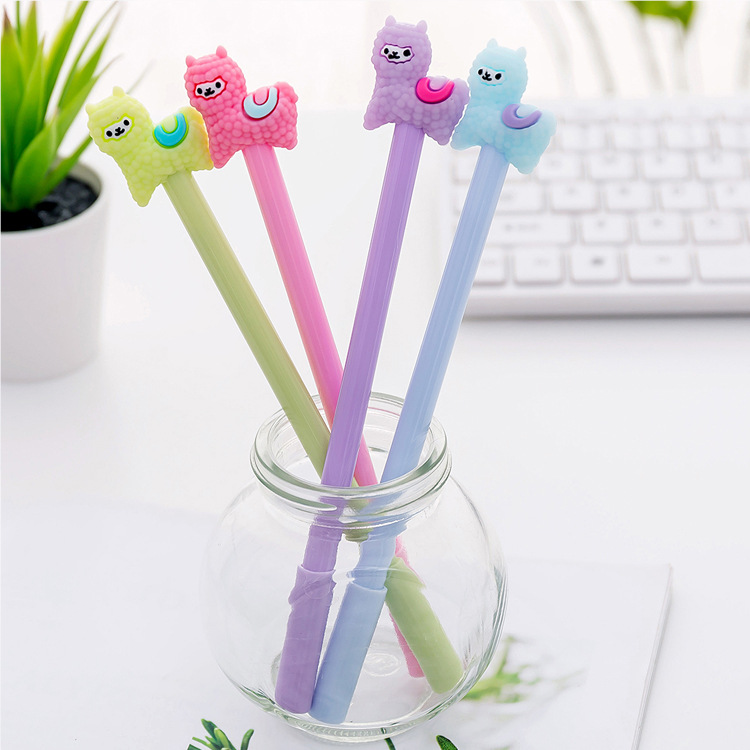 4 Pcs/lot Cartoon Alpaca Sheep Gel Pen Cute Student Office Stationery School Water Gel Ink Pen Black Ink Signature Pen Escolar