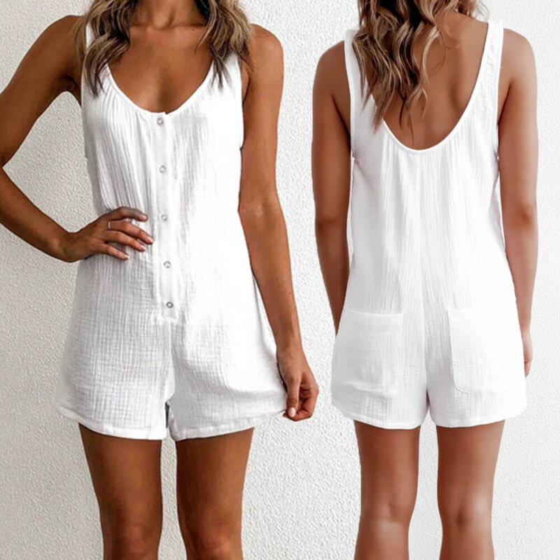 Women V Neck Button Vest Style Jumpsuit Rompers Summer Casual Short Playsuit New