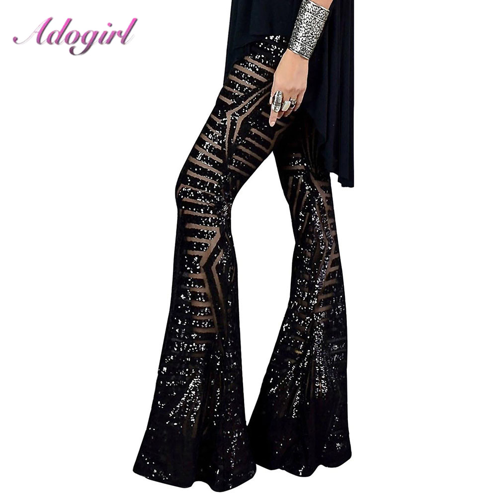 Sexy Black Silver Sequin Glitter Wide Leg Long Flare Pants High Waist Party Club XMAS Trousers Pants Outfit Streetwear Bell Pant
