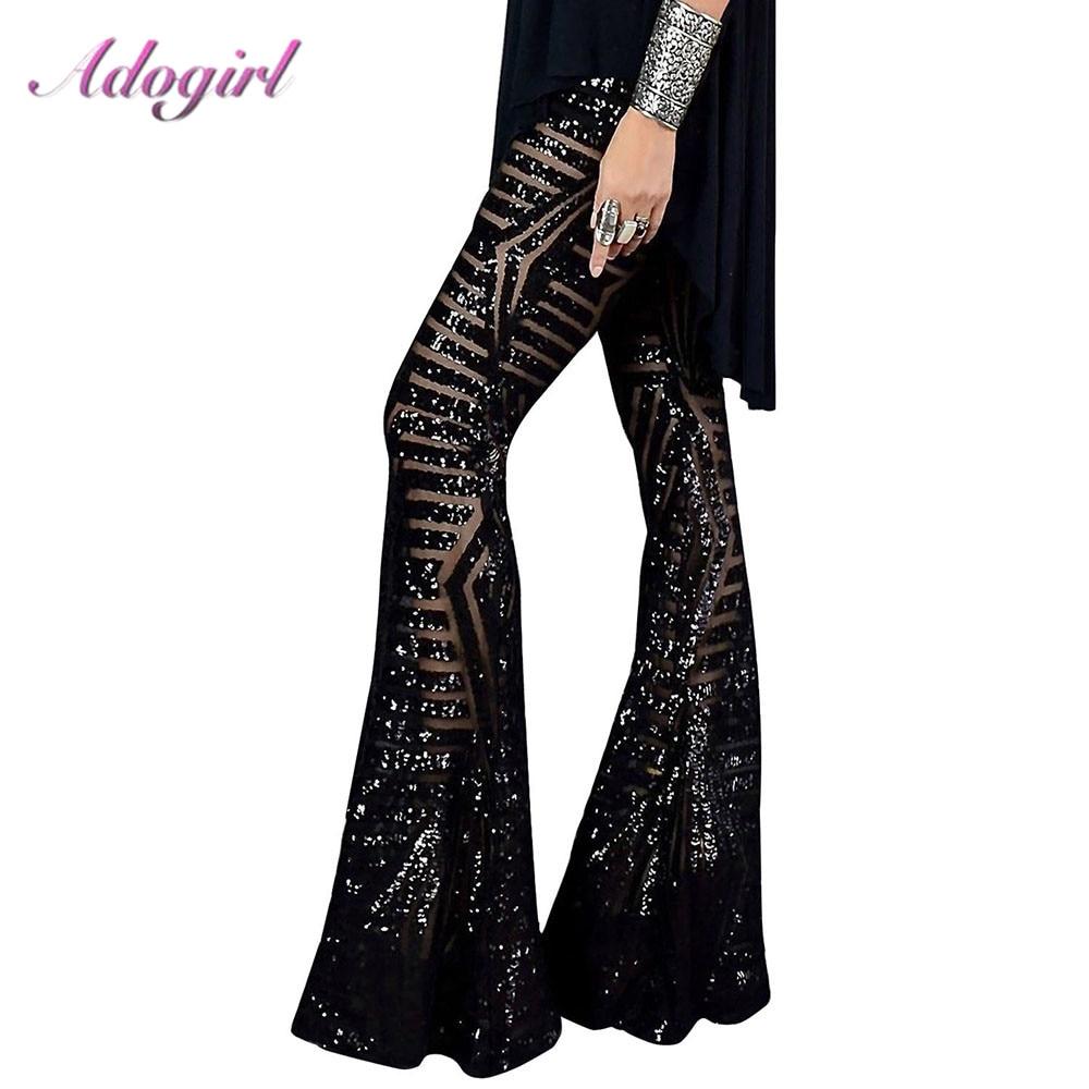 Сексуальные черные, серебряные блестящие широкие брюки с блестками, длинные расклешенные брюки с высокой талией, вечерние, Клубные, рождест...