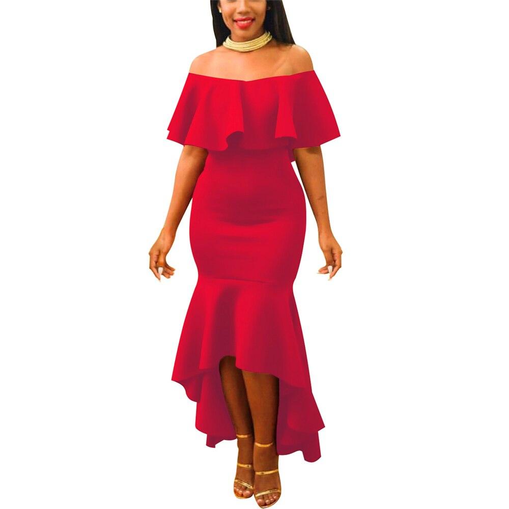 Для женщин вечерние платье миди Русалка элегантная спина оборками сексуальное платье с открытыми плечами, праздничное платье вечерние пла...