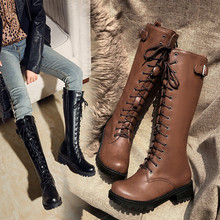 Chunky Heels Biker-Boots Ladies Shoes Lace-Up Knee Autumn Womens Long Cross-Tied YMECHIC