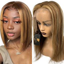 Highlight Lace-Frontal Human-Hair Wigs Straight Bob for Women Colored/Glueless/13x1 Brown