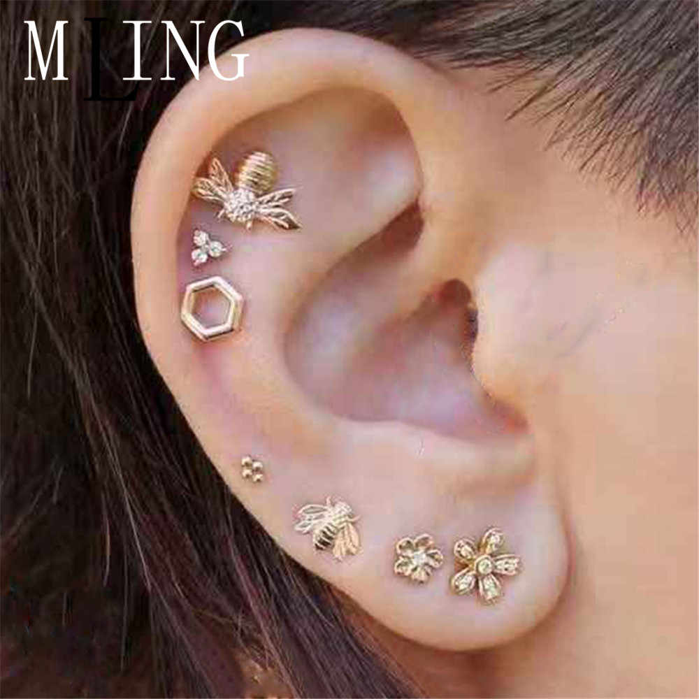Mling 7 Pcs/set Vintage Emas Alloy Crystal Stud Earrings Set Fashion Bee Bunga Geometris Satu Anting-Anting Set untuk Wanita