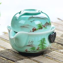 [GRANDNESS] чайный набор кунг-фу 1 горшок 1 чашка Longquan Celadon Gaiwan расписанный вручную чайный набор кунг-фу Gaiwan