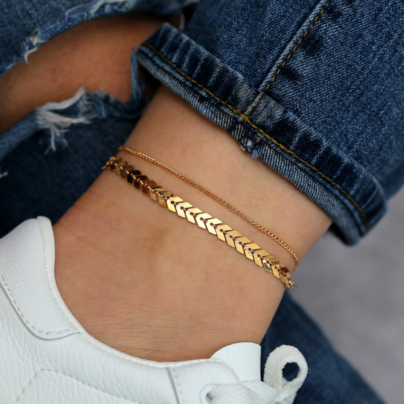 Gold Color Ankle Chains Female 2020 Summer Fashion Beach Foot Jewelry Anklets for Women Ankle Bracelet on The Leg Simple New