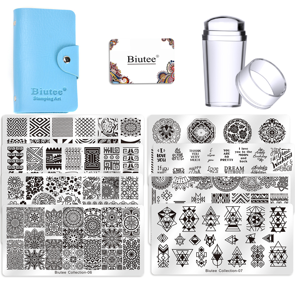 Biutee Square Nail Stamping Plate Design 8pcs + 1 Stamper Set + 1 Storage Bag Nail Art Stamper Scraper Image Plate Manicure Set