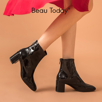 BeauToday High Heel Boots Women Patent Calfskin Leather Square Toe Zip Closure Ankle Length Autumn Fashion Ladies Shoes 03371 beautoday fashion ankle boots women calfskin leather round toe front zipper closure autumn winter lady shoes handmade 03808