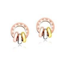 Roman Numerals Tri-color Earrings Stud Titanium Steel Rose Gold Ladies