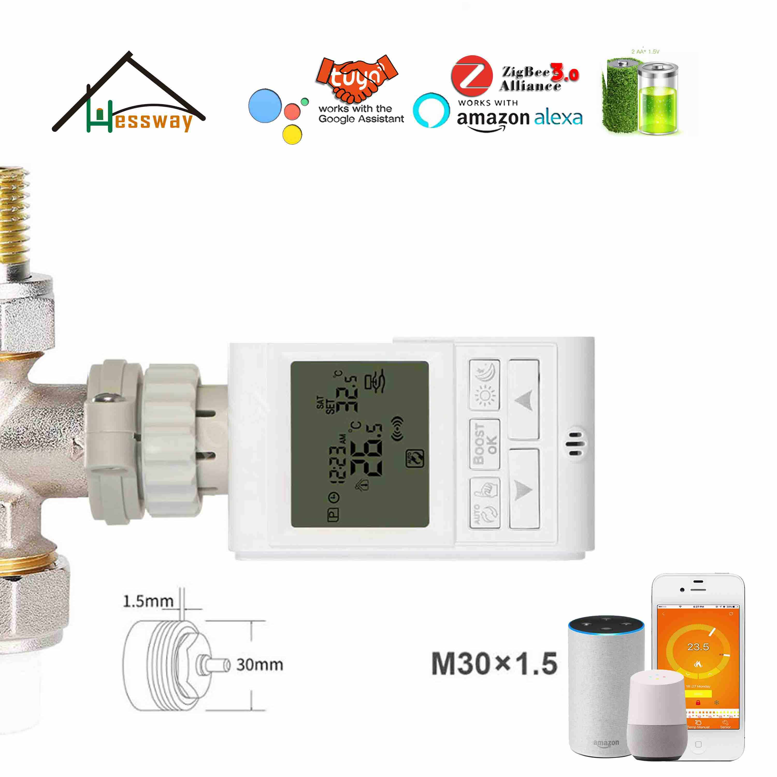 HESSWAY Thermostatic Radiator Valve By Wireless Gateway For TUYA Zigbee Thermostat IEEE 802.15.4,2.4GHz 868MHz 915MHz