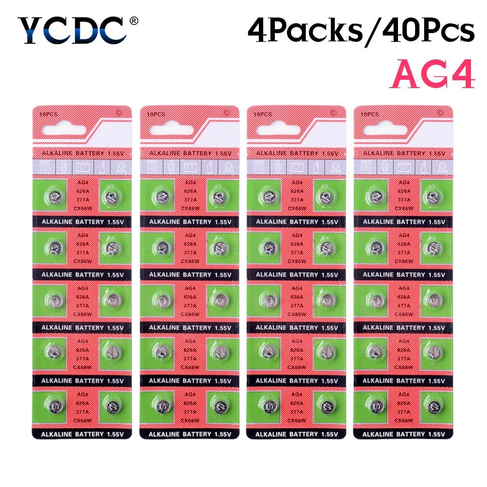 2020 novo promocional 40 Pcs Ag4 LR 626 Pilhas Alcalinas Botão Coin Células 1.55v 377 Baterias de Relógio D377 GP377 L626 LR626 SR626 SR626SW