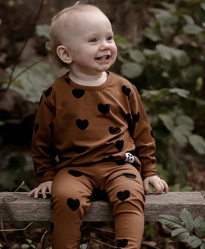 MINI Brand Kids T-shirts 2020 New Autumn Girls Heart Pattern Dress Fall Long Sleeve Cotton Fashion Baby Girl Boys Casual Dresses 2