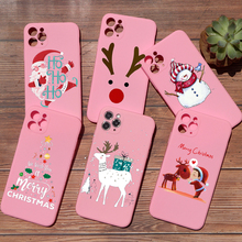 PUNQZY Merry Christmas Soft TPU Phone Case For iPhone 11 12 PRO MAX XR XS 8 7 PLUS 5s Santa Claus Christmas Tree Elk PINK Cover