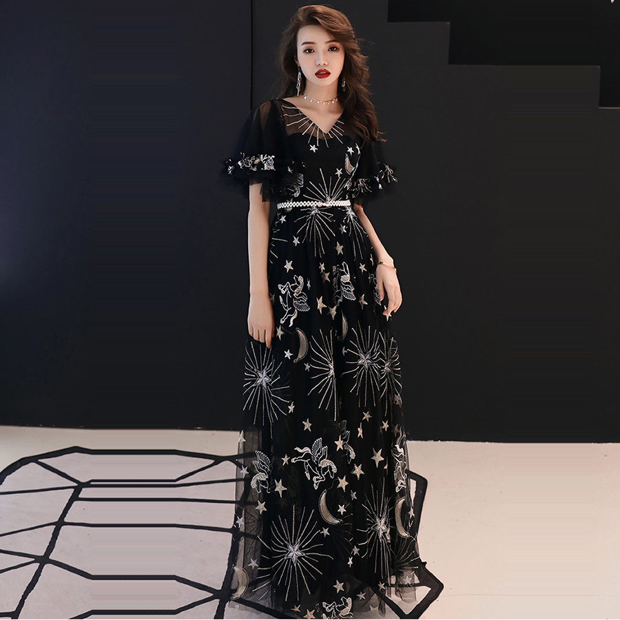 Evening Gown Elegant Illusion Evening Dress Pearls Embroidery Robe De Soiree 2019 Royal Crystal Lace A-line Formal Dresses E315