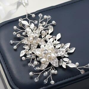 Image 5 - אופנה החדש אופנה חתונה כלה שיער אביזרי פרל ריינסטון מצנפות בגימור זהב כסף צבע שיער תכשיטי עבור נשים