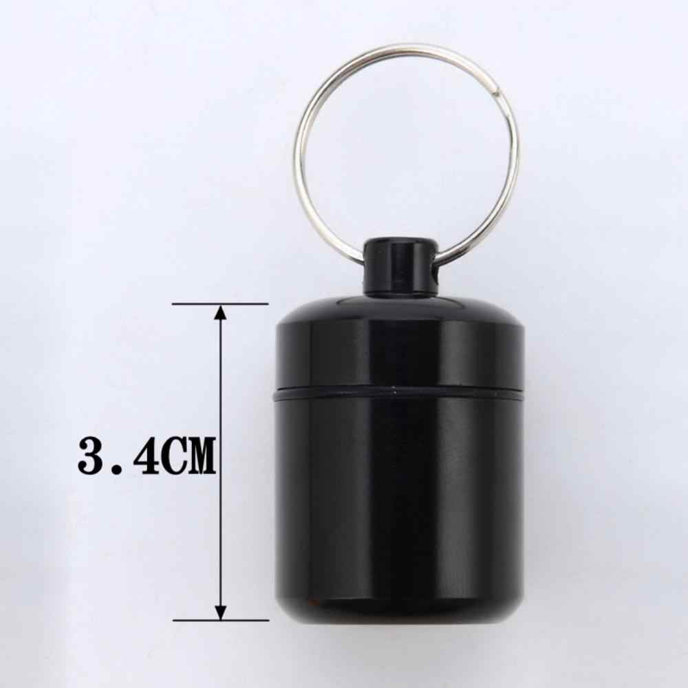 Hot Draagbare Waterdichte Aluminium Pil Tank Outdoor Sleutelhanger Tablet Capsule Opbergdoos Fles Case Houder