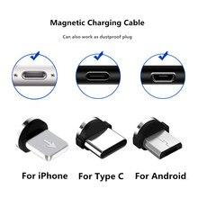 Tomada magnética cabo usb jack adaptador para iphone 8 pinos usb c micro tipo c plugues android carregamento rápido carregador usb cabo plugue