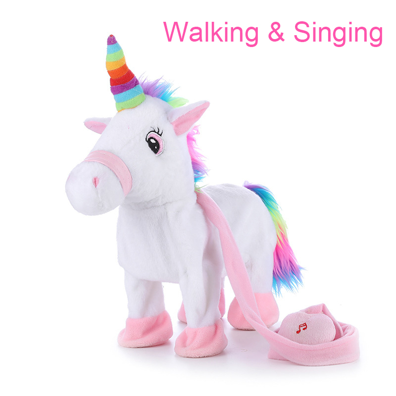 Baby Electronic Stuffed Unicorn Walking And Singing Big Plush Animals Toy Children Interactive Toys For Girls Educational Horse