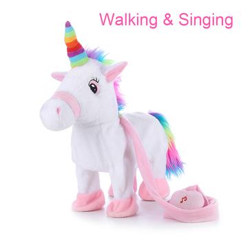 Dziecko elektroniczne nadziewane jednorożec chodzenie i śpiewanie duże pluszowe zwierzęta zabawki dla dzieci zabawki interaktywne dla dziewczynek edukacyjne tanie i dobre opinie YINGELON Pp bawełna 8 ~ 13 Lat 14 lat 5-7 lat Dorośli walking unicorn 31 cm-50 cm Zwierzęta i Natura Muzyka Walking and singing