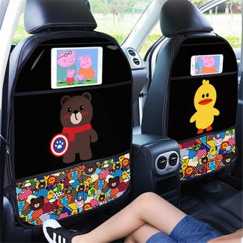 Cartoon Car Seat Back Protector Cover Car Styling Storage Organizer Kids Children Anti-kick Mat Auto Phone Stand Tablet Holder car seat back cover protector for kids cartoon car anti kick mat with phone