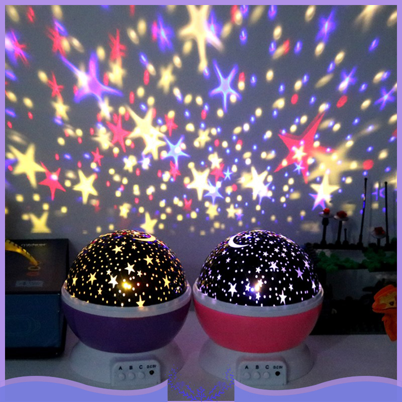 LED 3D Stars Starry Night Light Projection Lamp Galaxy Rotating Starry Night Light Star Sky Lighting Novelty Magic Ball Lamp