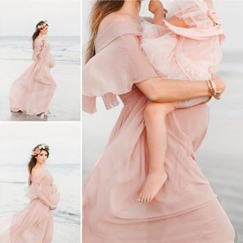 Short Sleeve Ruffles Solid Dress for Pregnancy 1