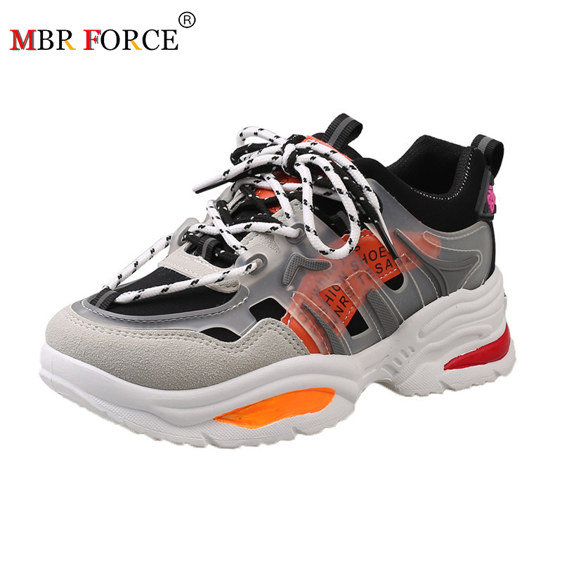 MBR FORCE 2020 New  Ins Hot Sneakers Women Trendy Chunky Dad Shoe Laces Platform Shoe New Color Matching Cross -tied Sneakers