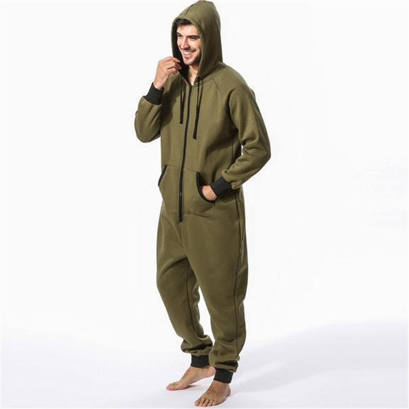 Padded Jumpsuit Men Zipper Pocket Sweater Sleep Lounge Adult Sleepwear One Piece Pyjamas Male Casual Warm Homewear DS50982
