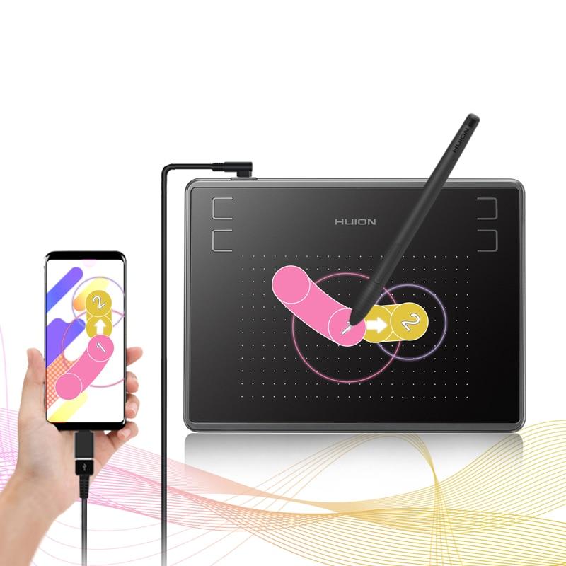 Huion h430p comprimidos digitais micro assinatura usb gráficos desenho caneta tablet jogo osu bateria-livre tablet com presente