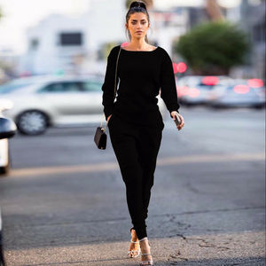 Женский спортивный костюм с длинным рукавом, повседневный однотонный костюм из свитшота и брюк, Новинка осени-весны 2019