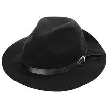 Винтажная фетровая шляпа для женщин Женская широкая широкополая шляпа с кантом стиль 2: черный