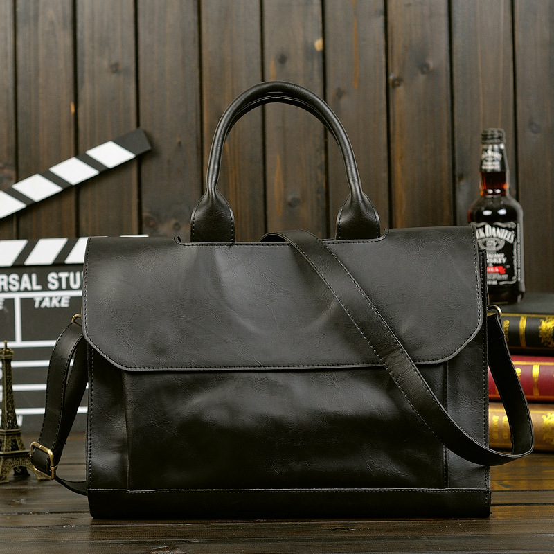Men's Briefcase Vintage Business Laptop Handbags For Men Crazy Horse Leather 14 Inch Notebook Pack Large Capacity Briefcases