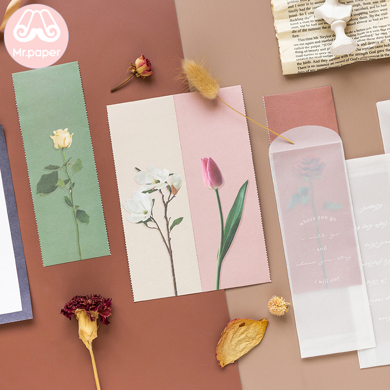 Mr Paper 4 Designs Flower Natural Envelope White Kraft Child Student Craft Greating Card Gift Stationery School Office Supplies