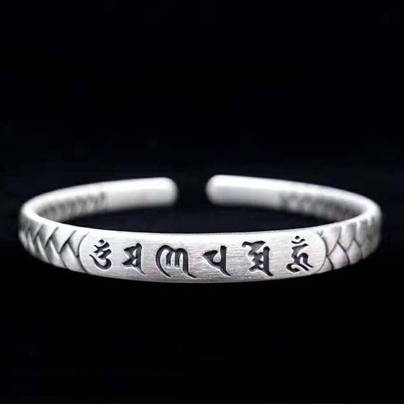 Fait à la main 100% S999 argent Bracelet de manchette chanceux argent pur tibétain Six mots Bracelet bouddhiste OM Mani Padme Hum femmes Bracelet