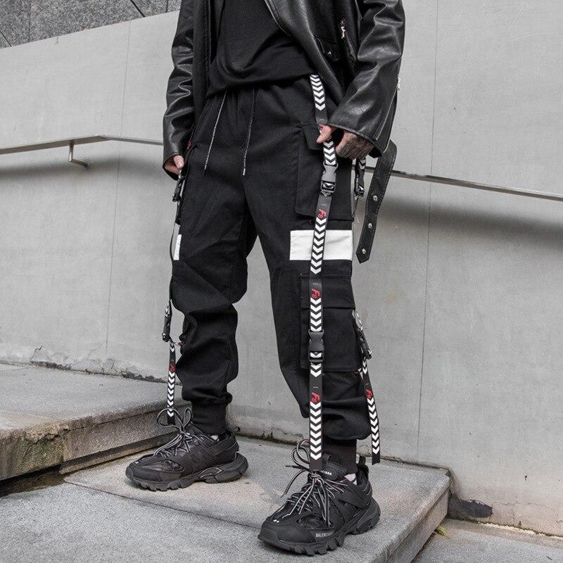 Hommes rubans boucle épissure lâche décontracté noir Cargo pantalon homme Streetwear Hip Hop Punk gothique Harem pantalon Joggers pantalons de survêtement