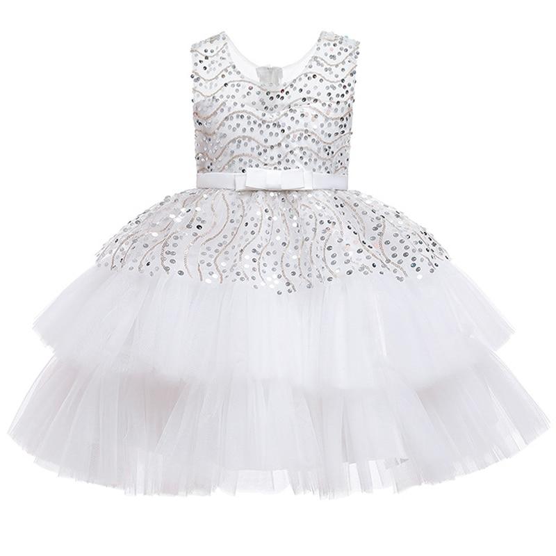 Flower Girl Birthday Party Dance Sequin Wedding Dress Puffy White Party Dress Girl Formal Eucharist Party Party Sequin Dress