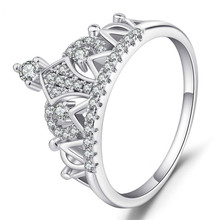 2 Colors Handmade Crown Ring White Gold Color Zircon Engagement Wedding Band Rings For Women Men Anniversary Jewelry