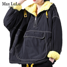 Max LuLu European Designer 2020 Winter Womens Vintage Sweatshirts Ladies Loose Fur Warm Hoodies Female Hooded Oversized Clothes