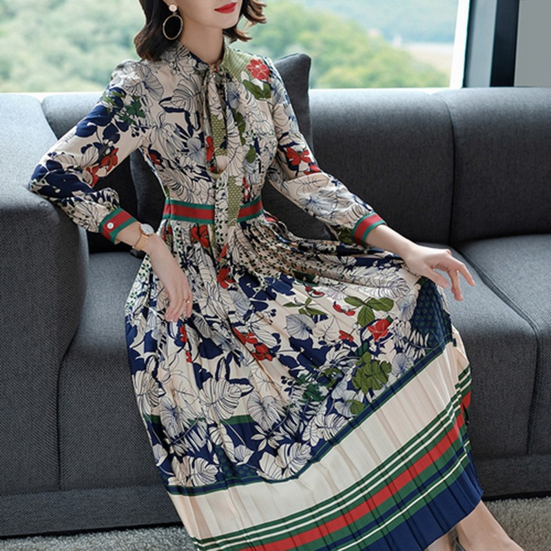 Chinese-style WOMEN'S Dress 2019 Autumn New Style Retro Printed Lace-up Casual Ethnic-Style Pleated Skirt