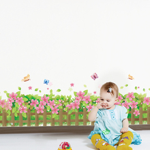 [shijuekongjian] Butterflies Flowers Baseboard Stickers Vinyl DIY Home Decor for Living Room Kids Bedroom Hallway Decoration