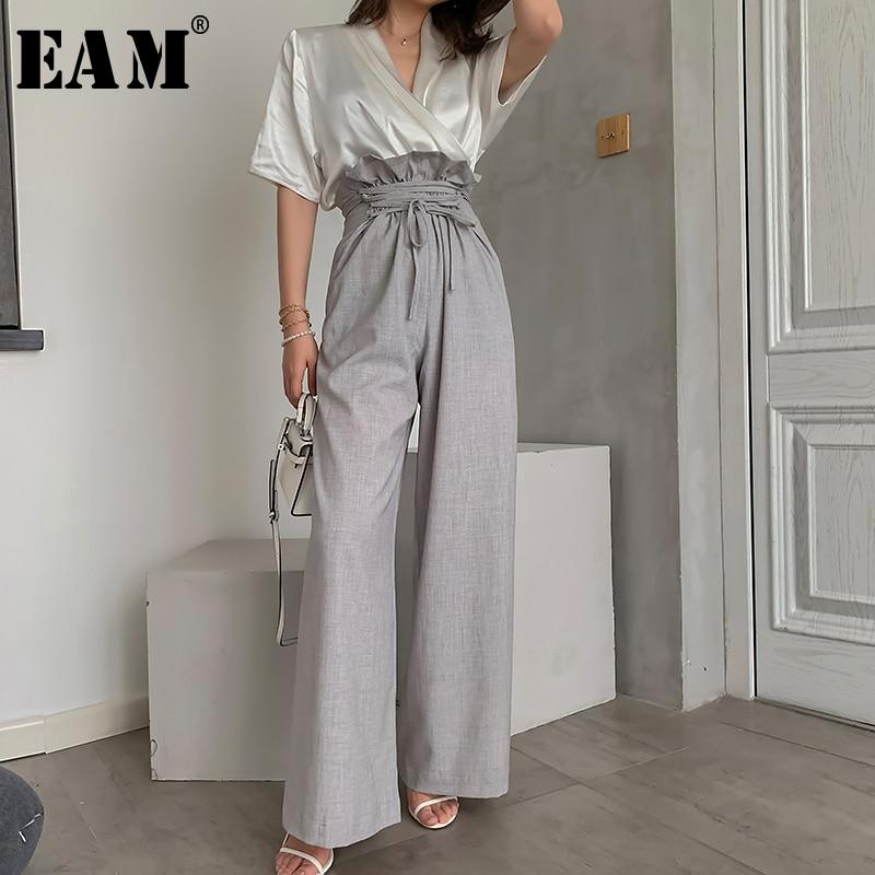 [EAM] High Waist Gray Ruffles Bandage Long Wide LegTrousers New Loose Fit Pants Women Fashion Tide Spring Summer 2020 1W492