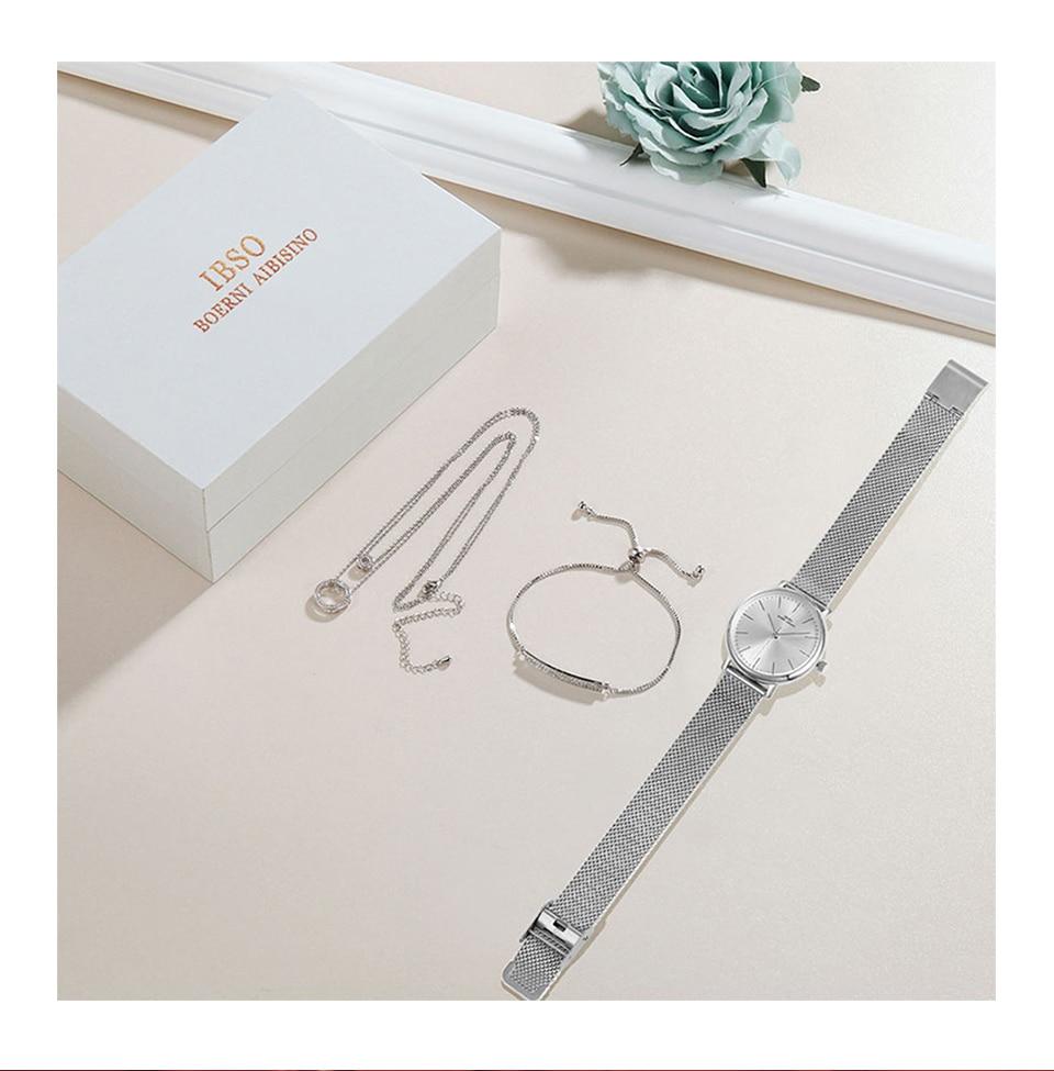 Ensemble bijoux Femme montre cristal Design Bracelet collier 5